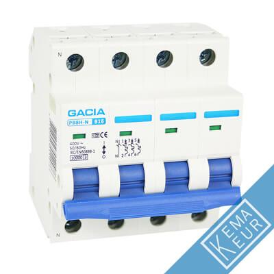 3 polig + nul D 10kA en 15kA Installatieautomaten Gacia