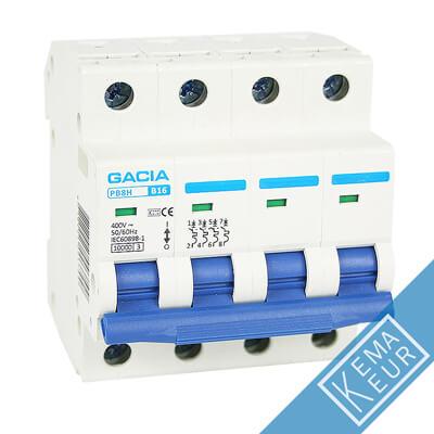 4 polig D 10kA en 15kA installatieautomaten Gacia