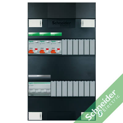 3 fase met aardlekautomaten (alamat) groepenkasten Schneider Electric