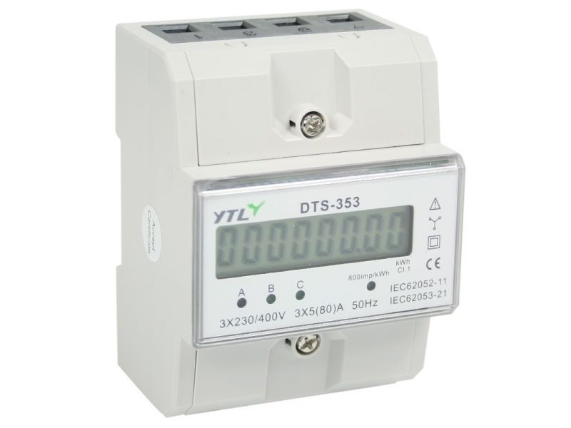 kWh meter 3 fase 5/80A Accu