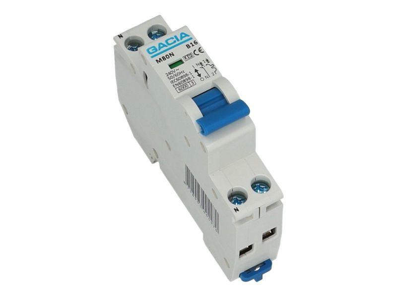 Installatieautomaat 1 polig + nul 16A karakteristiek C 6kA