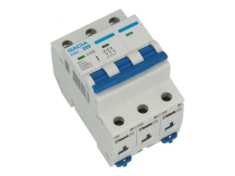 Installatieautomaat 3 polig 16A karakteristiek D 10kA