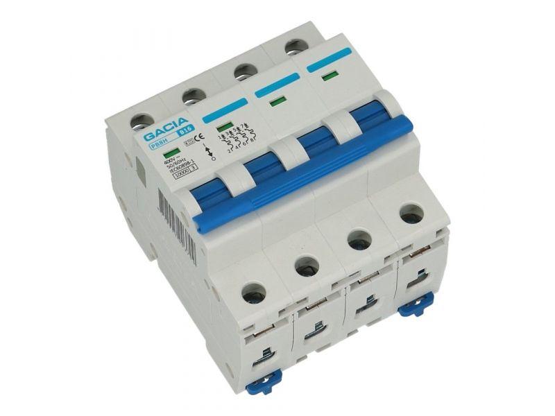 Installatieautomaat 4 polig 16A karakteristiek D 10kA