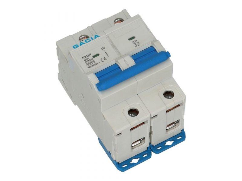 Installatieautomaat 2 polig 63A karakteristiek D 15kA