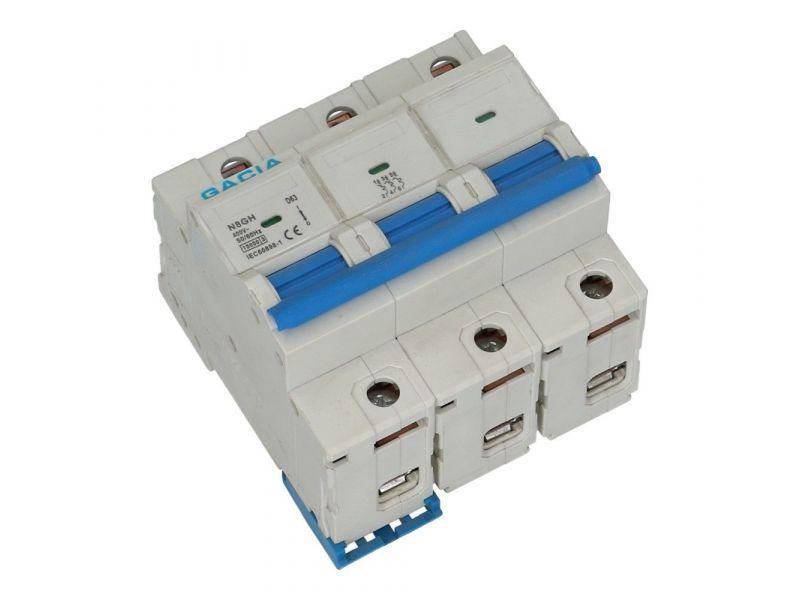 Installatieautomaat 3 polig 63A karakteristiek D 15kA